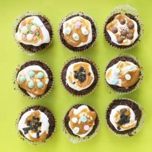 Muffins med fluff och karamelliserad mjölk
