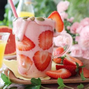 En helt vanlig smoothie med jordgubbar!